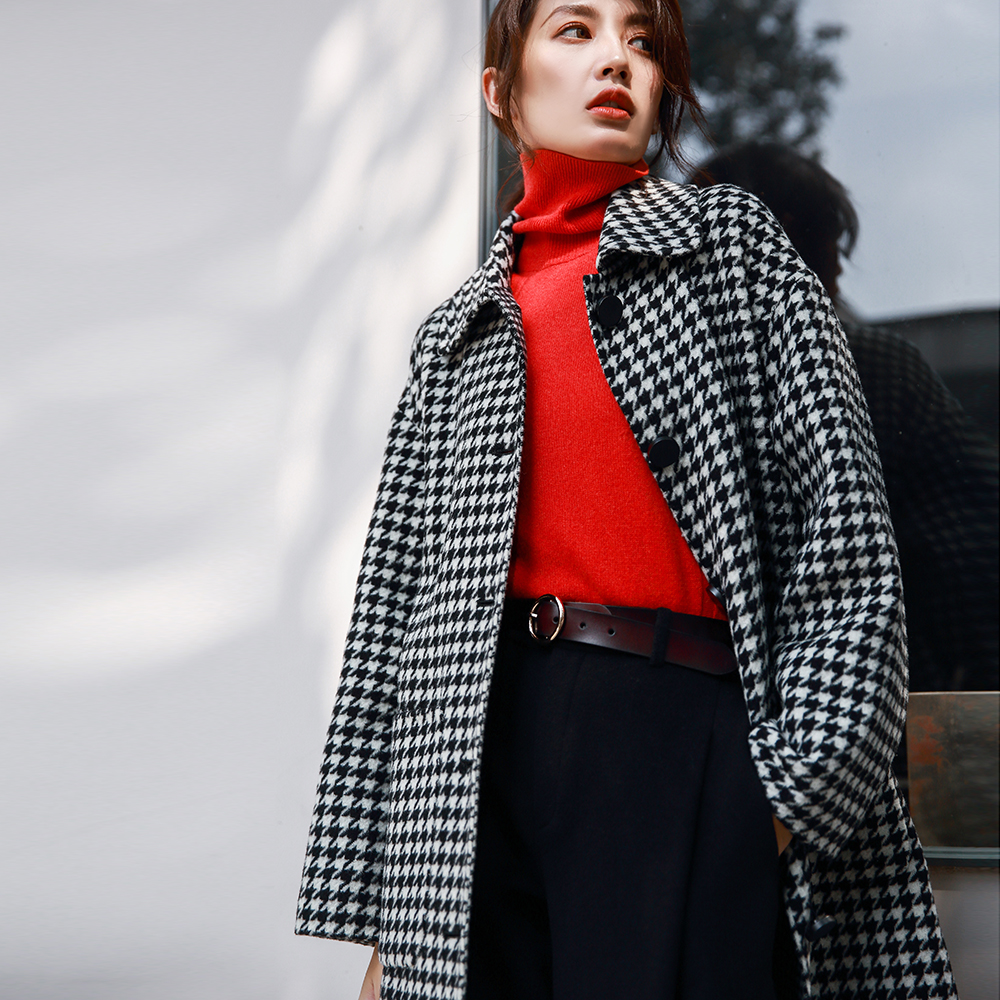 IRINAW922 2018 AW Collection single breasted loose long double faced houndstooth plaid wool coat women