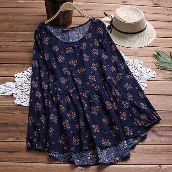 Plus Size 2020 Autumn ZANZEA Women Blouse Printed Long Sleeve Shirt Irregular Hem Blusas Pleated Midi Vestidos Long Blouse Tops tassel hem blouse