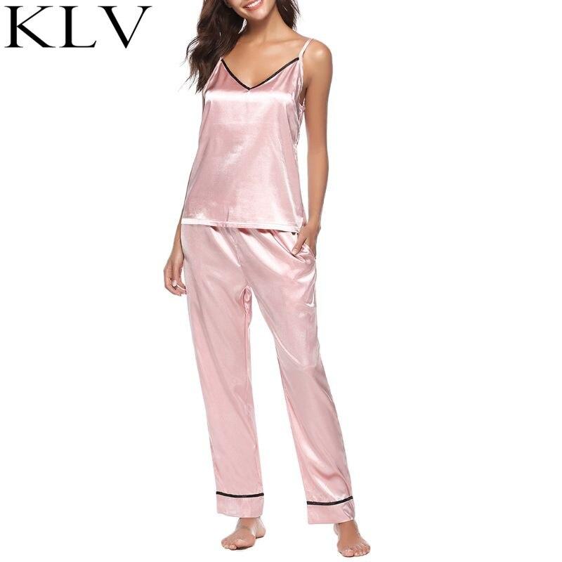 Women Summer Faux Silk Pajamas Set Deep V Neck Spaghetti Straps Tank Top Full Length Long Pants Sleepwear House Loungewear in Pajama Sets from Underwear Sleepwears