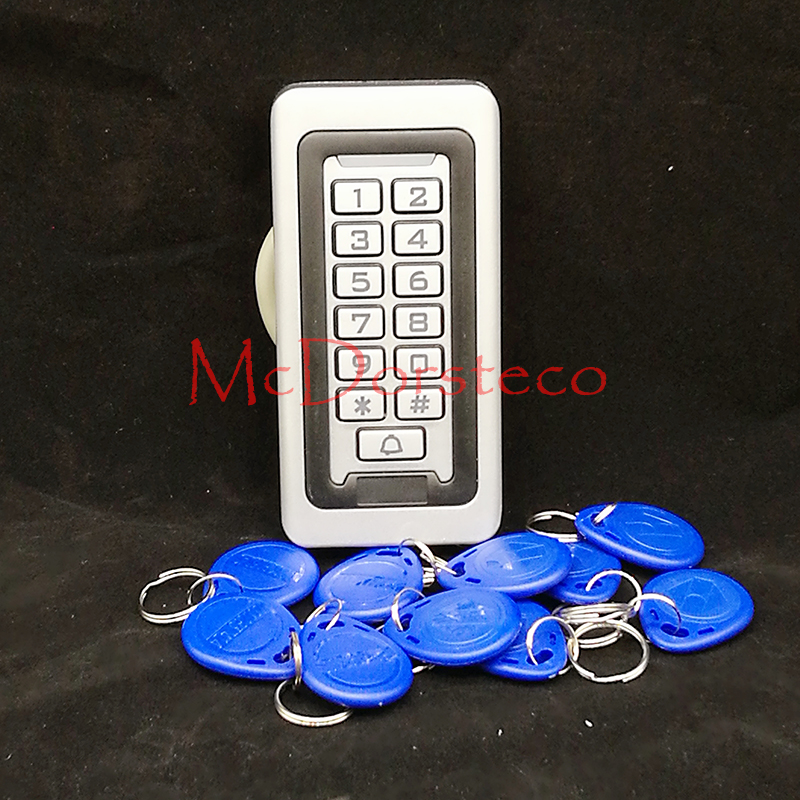 12V - 24V Metal Case with blue backlight 125KHZ RFID+password waterproof access control system