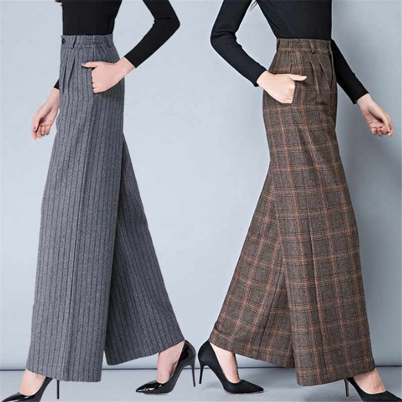 Autumn Winter Womens High Waist Harem Flare Pants New Plus Size Warm Print Woolen Wide Leg Fashion Plaid Pants Women A5031