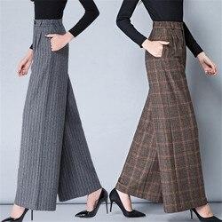 Autunno Inverno Donne a Gamba Larga Pantaloni a Vita Alta Flare Pantaloni Più I Pantaloni di Formato 3XL 4XL di Stampa a Caldo di Modo di Lana Plaid Pantaloni donne A5031