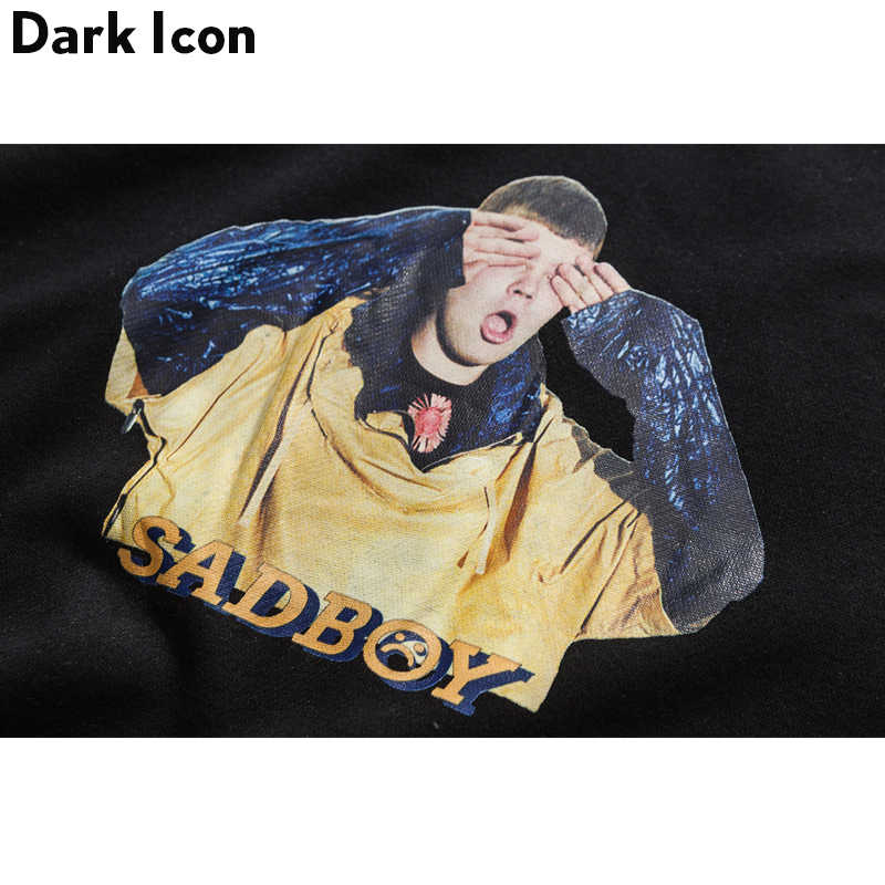 8cfd70b3 ... DARK ICON Sad Boy Printed Stripe Patchwork Sleeve Men's Sweatshirt 2018  New Funny Printing High Street ...