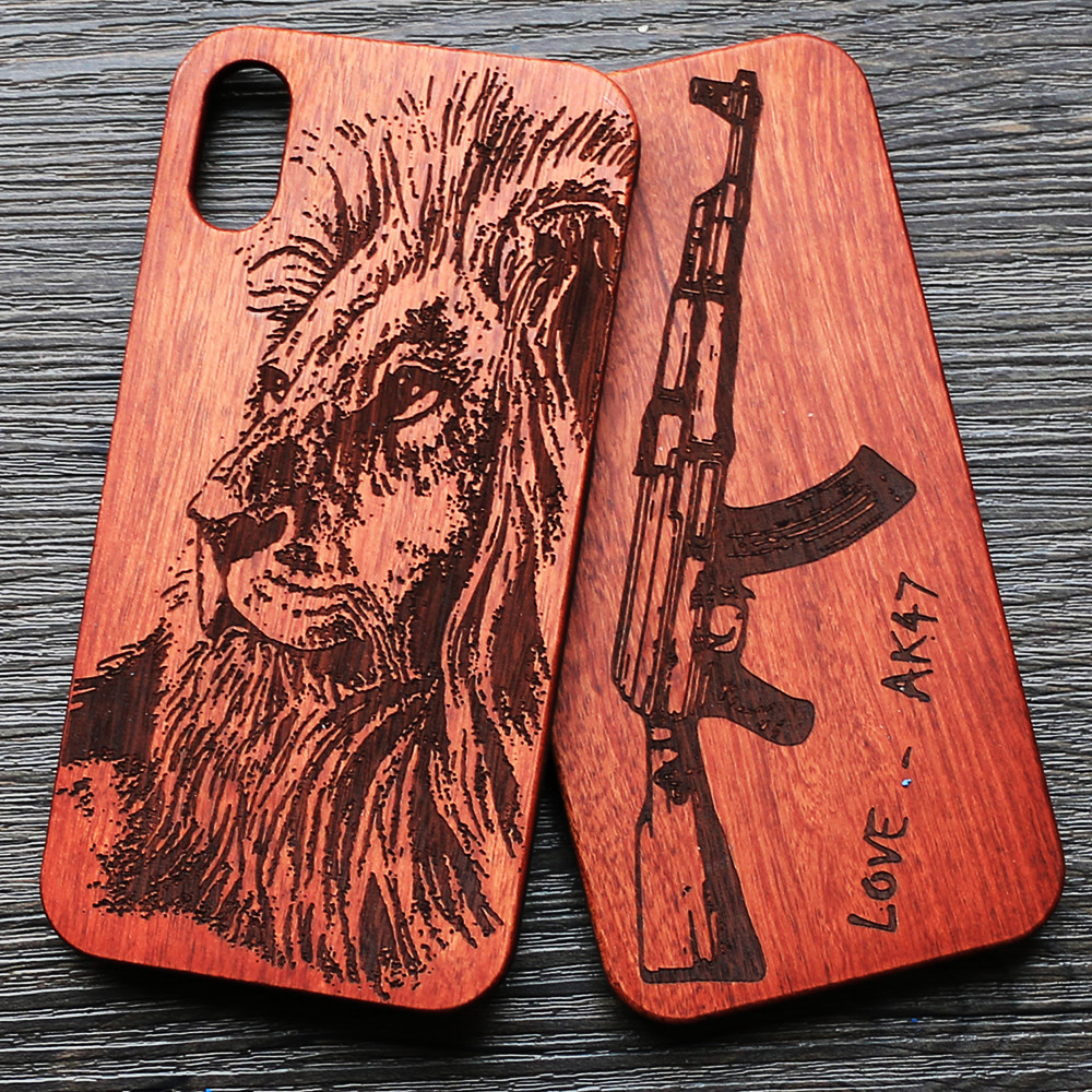 check out 1131b d95ba US $10.44 5% OFF|Bamboo New Gun AK47 Wood Phone Case For iPhone X XS XR Xs  Max Case Sculpture Wooden Cover iPhone 7 8 Plus 5 6 6S SE Tribal Lion-in ...
