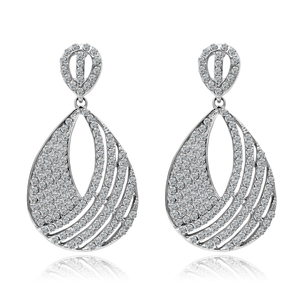 Fashion Water Drop Big Hanging Earrings For Women Bridal Rhinestone Gold  Silver Color Brincos Prom Wedding Jewelry A00202