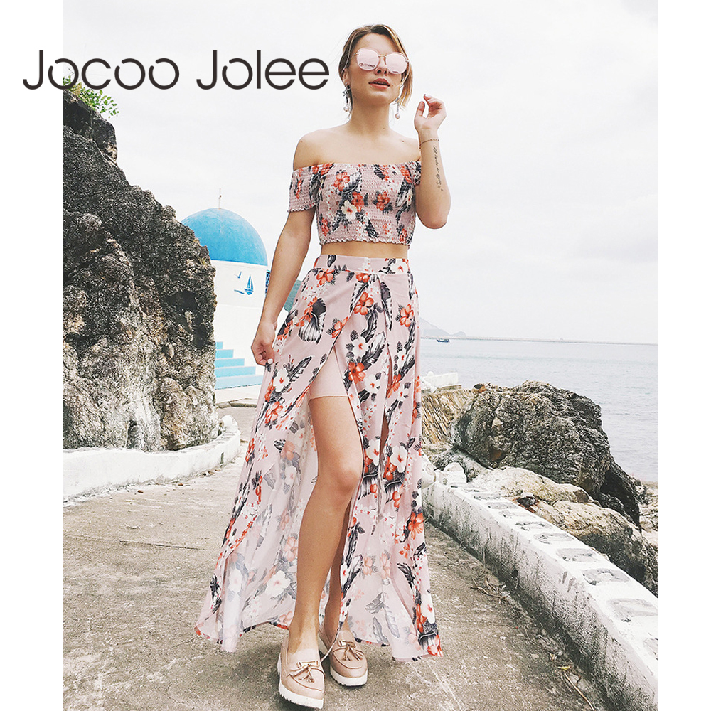 Jocoo Jolee Floral Sprint 2 Piece Set Women Suits Off Shoulder Short Tops With Front Split Ruffles Long Dress Summer Dress Women
