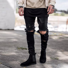 HOT 2019 Fashion spring high street Casual hip hop Distressed denim streetwear beggar man ripped hole biker jeans male
