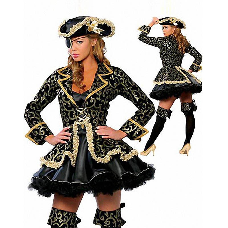New Adults Gold Pirate Womens Costume