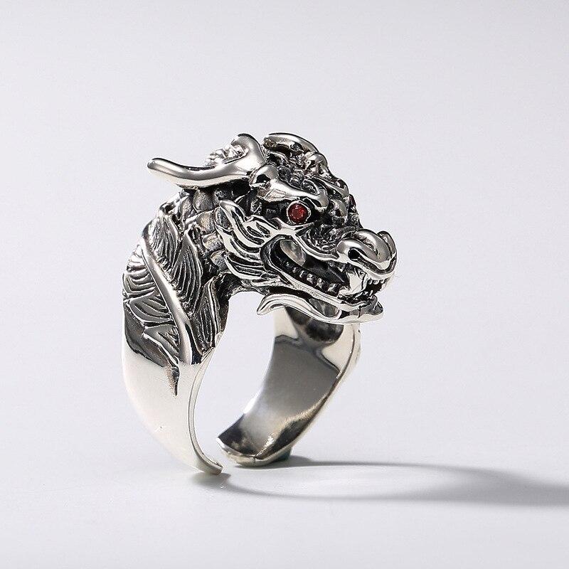 Chinois Drogan anneaux 100% pur 925 bijoux en argent Sterling Punk pour hommes spécial cadeau de noël FR041