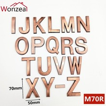 70mm ABS Plastic Red Copper Bronze Self- Adhesive 0-9 A-Z Door Numbers Customized House Address Sign Door plate