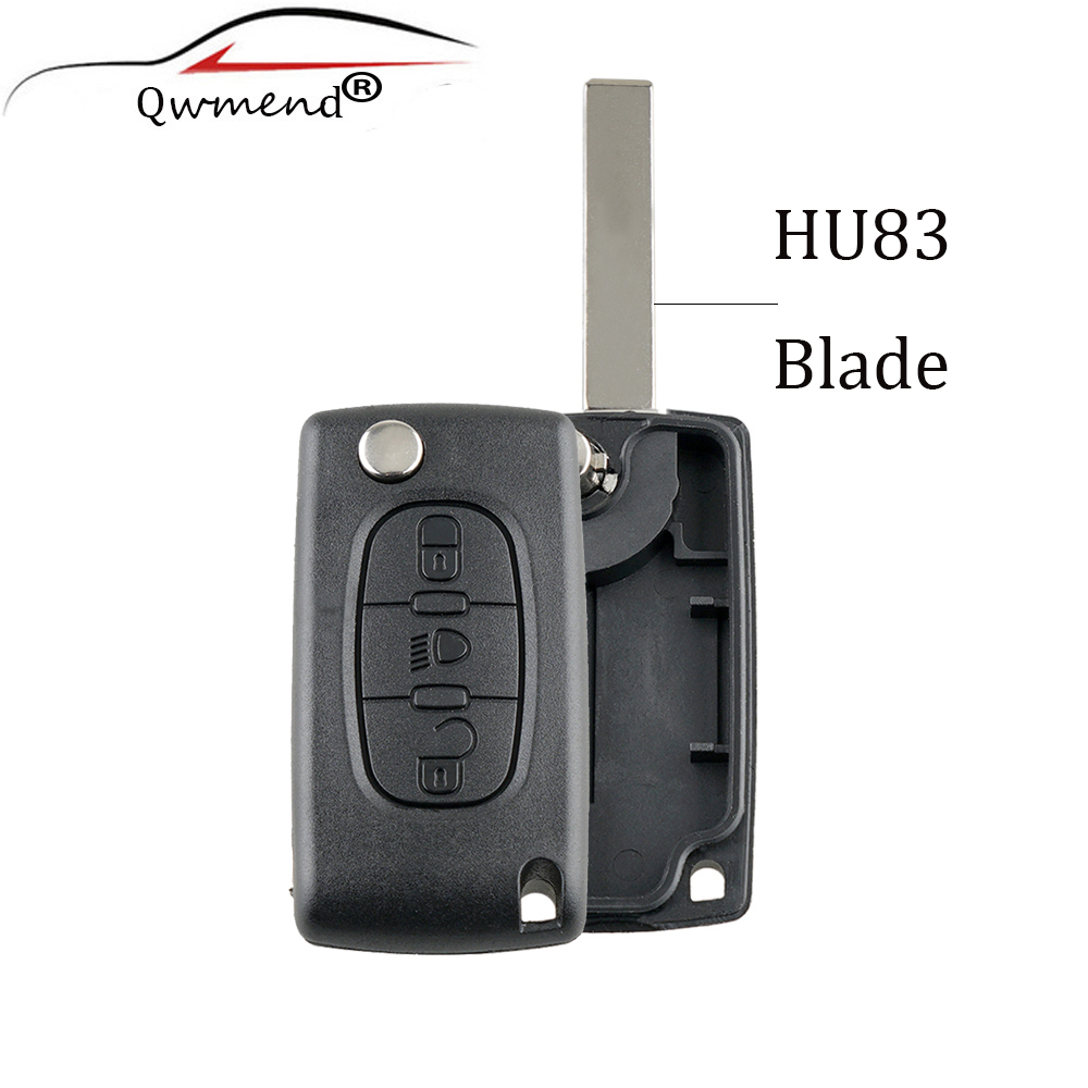 Key-Shell Hu83 Blade Xsara CE0523 Citroen C4 Picasso Cover Replacement Remote 3-Buttons-Lamp