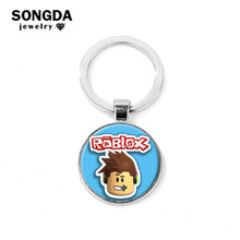SONGDA Simple Roblox Series Keychain High Quality Metal Glass Cabochon Gem Bag Pendant Cartoon Anime Game Figure Key Ring Holder(China)
