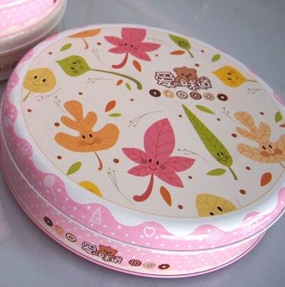 Dia220X50mm Round Biscuit Candy Tea Metal Storage Box Trinket Office Organizer 32pcs/lot