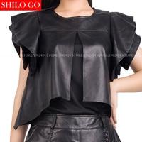 Plus size 2017 autumn spring fashion women high quality Sheepskin round neck collar ruffles sleeve black leather T shirt 3XL