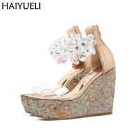 Sexy High Heels Sandals Platform Beaded Rhinestone Shoes Fashion PVC Transparent High Heels Summer Beach Party
