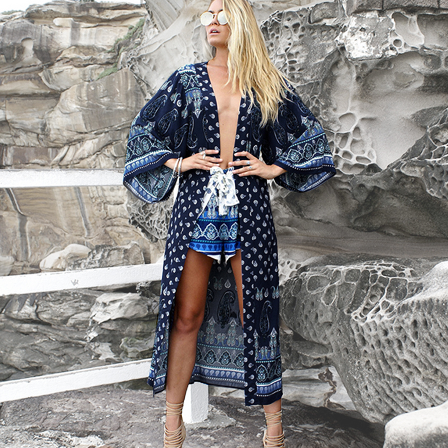 TEELYNN women Cardigan Boho blouse shirt 2019 rayon floral print flare sleeve robe summer blouses beach wear Gypsy blouse Blusa