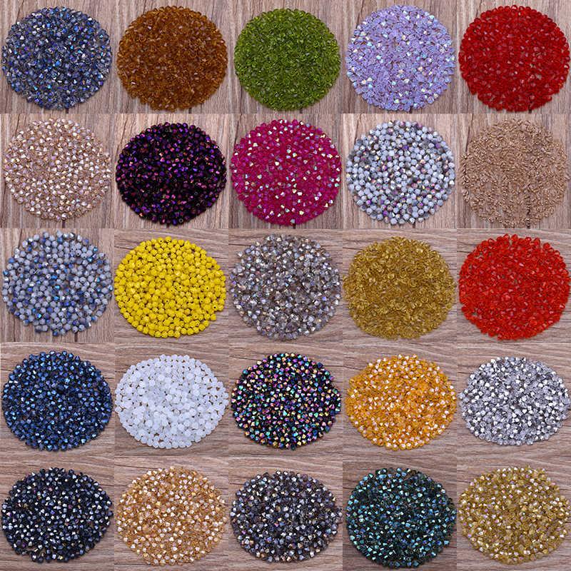 כסף בהיר צבע AB 4mm 100pc אוסטריה קריסטל Bicone חרוזים 5301 Loose חרוזים DIY צמיד שרשרת אביזרי S-63