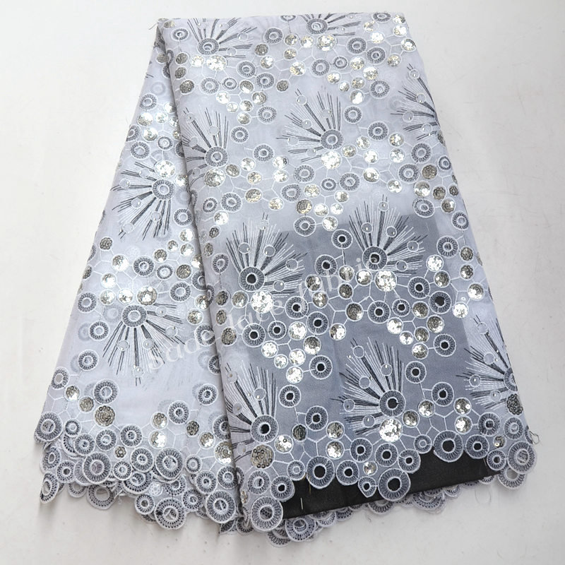 African organza Lace Fabric French Lace Fabric High Quality With Sequins and Stones Nigerian Embroidery Tulle