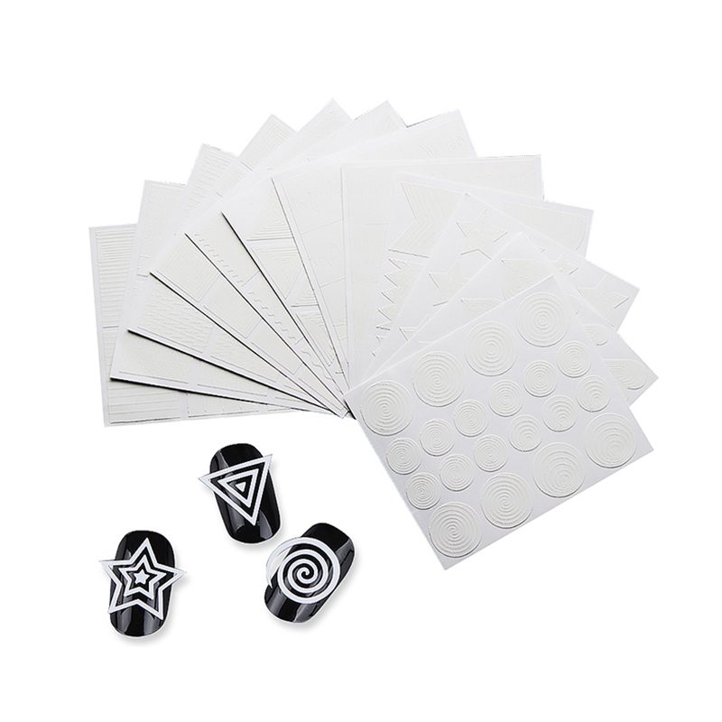 12 Sheets Geometry Nail Vinyls Nail Art Stencil Stickers Stripe Circle Stars Heart Manicure Tips Decoration 12 tips sheet laser nails vinyls nail art manicure stencil nail art hollow stickers decoration tools accessories