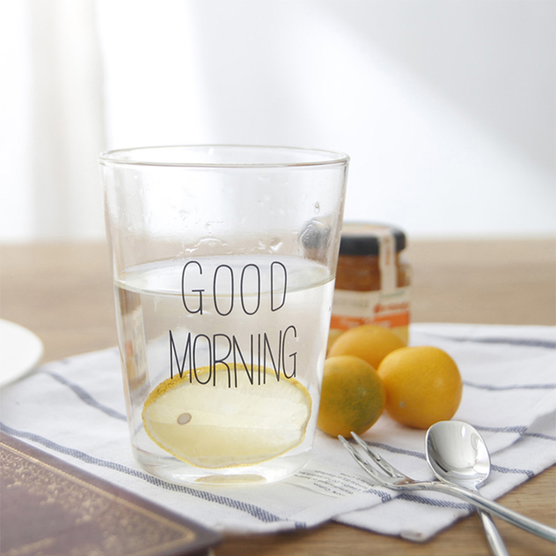INS Japan Same Paragraph Good Morning Breakfast Glass Transparent Milk Cup Fruit Juice Cup, Glass-001