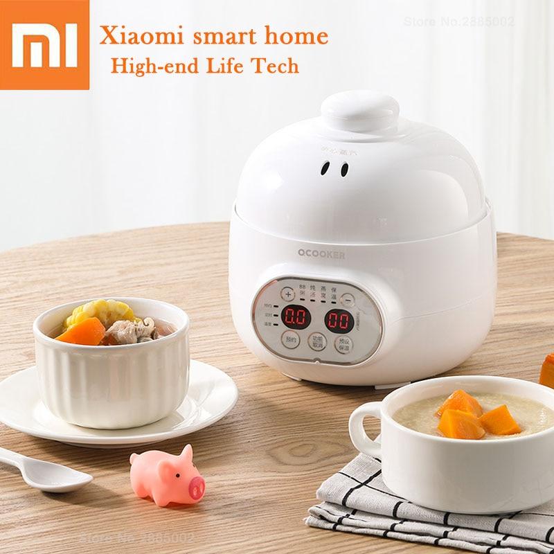 Xiaomi Mini Electric Cooker Pot Ceramics Skillet Soup Pot Porridge Timing Thermal Insulation Multi Cooking Container Heating Pan