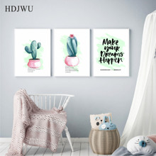 Nordic Art Home Decor Canvas Painting  Watercolor Cactus Plant Printing Wall Poster for Living Room AJ0057