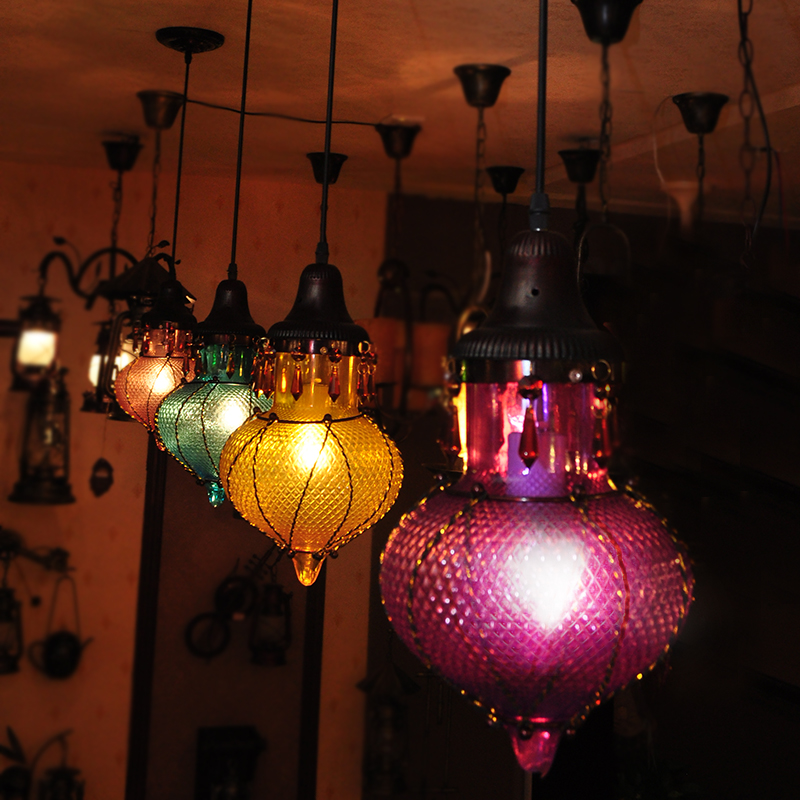 Retro Southeast Asia Bohemia Colorful Glass & Cystal  Pendant Lamp CAFE Bedroom Ceiling Lamp Droplight Cafe Bar Coffee Shop Hall loft retro tree glaze glass pendant lamp lights cafe bar art children s bedroom balcony hall shop aisle droplight decoration