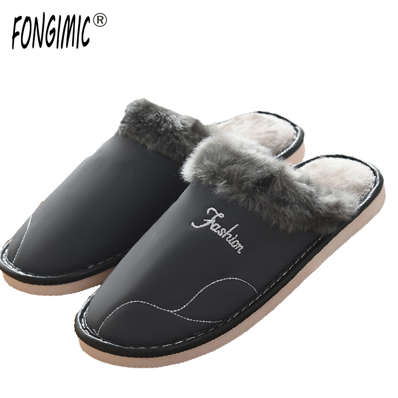 FONGIMIC Men Women House Slippers Soft Home Slippers Warm Men Shoes Indoor Plush Bedroom Waterproof Non-slip Cotton Slippers home slippers soft plush cotton cute slippers shoes non slip floor indoor house home fur slippers women shoes for bedroom