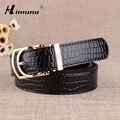 Vendimia de La manera mujeres del Grano del Cocodrilo correa de Cuero Genuina para Las Mujeres Oro Pin Hebilla Cinturones de Cuero Femenino Del Zurriago