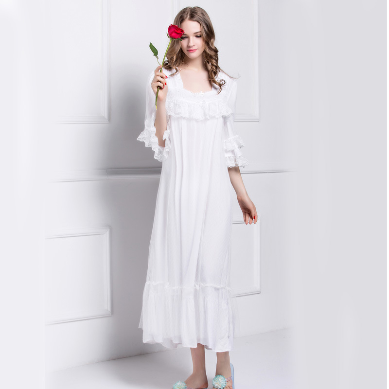 High Quality Cotton Women s Nightgowns White Lace Royal Princess Nightdress  Vintage Sleepwear Large Size L140824-in Nightgowns   Sleepshirts from  Women s ... 41f28f803