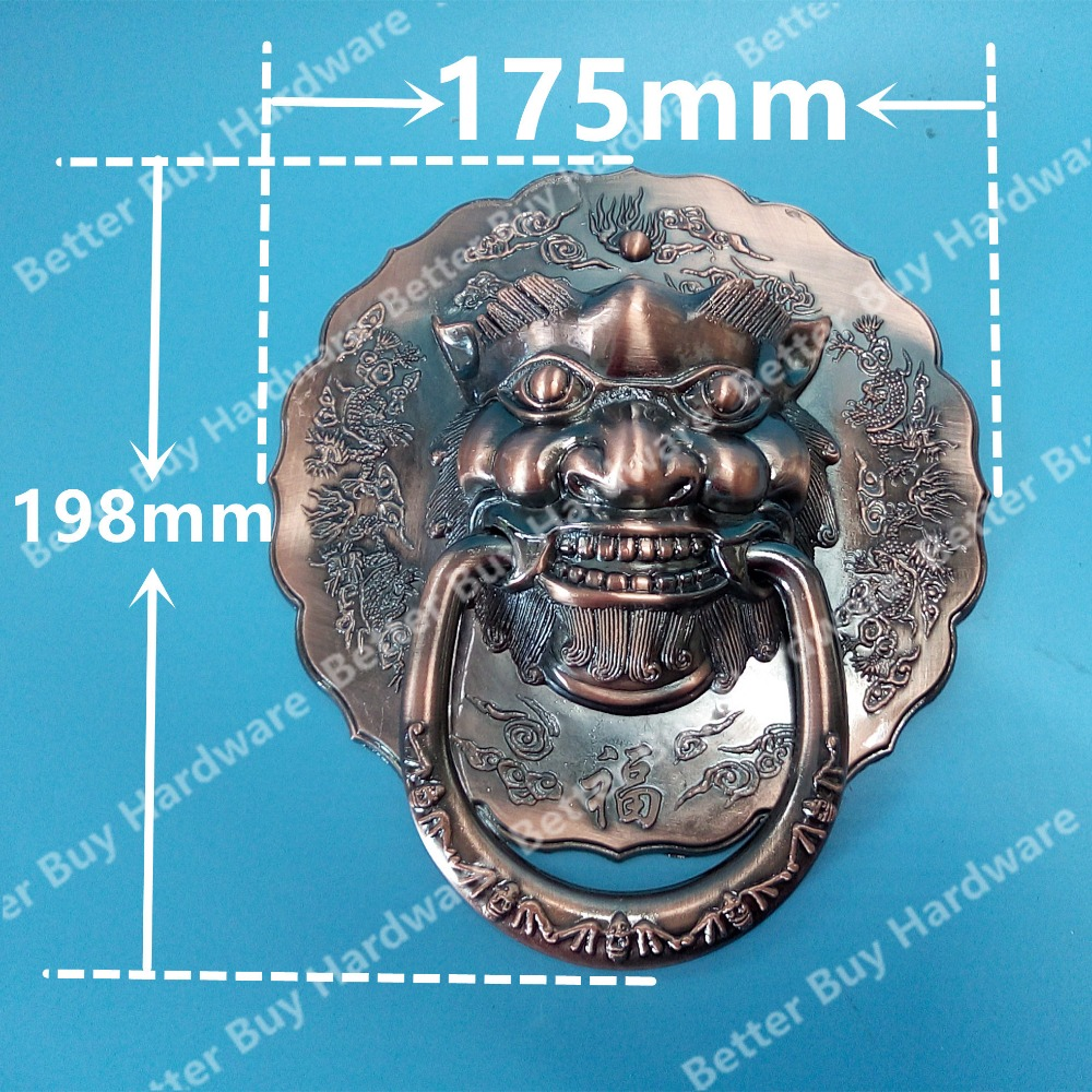 Dia 175mm Antique Chinese lion head door handle knocker handle unicorn beast red copper color antique chinese yuan fu lion head door handle knocker handle unicorn beast