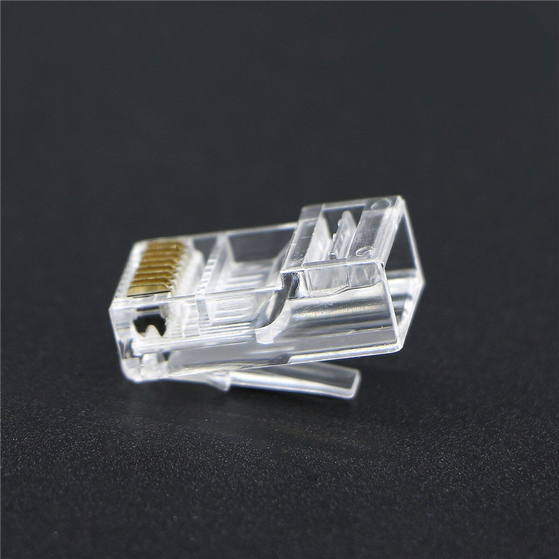 1000pcs Crystal 8Pin RJ45 Modular Plug Rj-45 Network Cable Connector Adapter for Cat5 Cat5e Cat6 Rj 45 Ethernet Cable Plugs Head