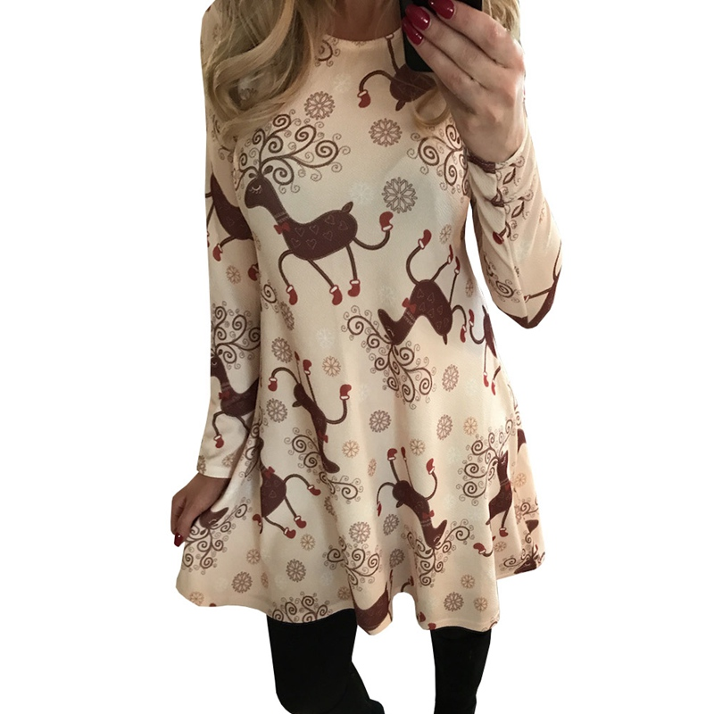 Women Xmas Dress 2018 Fashion White Deer Printed Loose Dresses Long Sleeve Ladies Autumn Winter Christmas Holiday Clothes