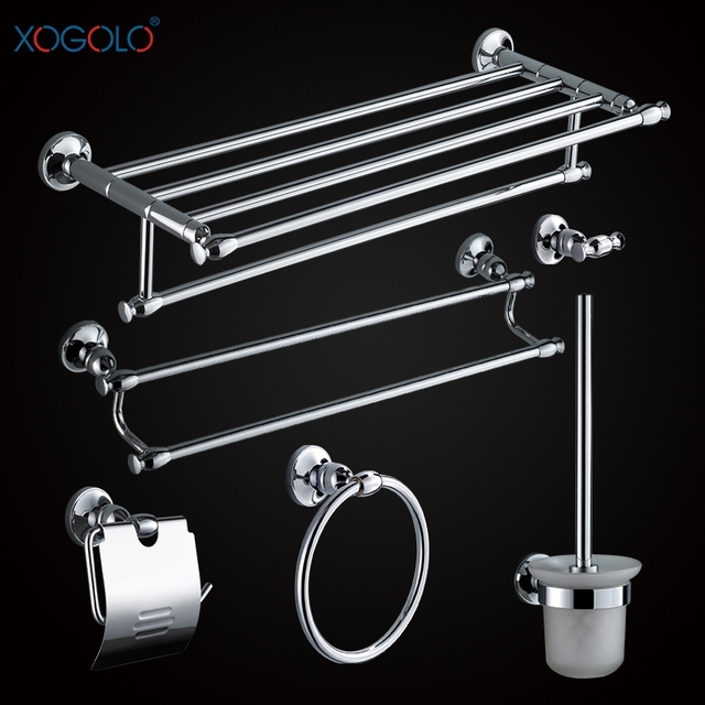 Xogolo Copper Polished Chrome Fashion Wall Mounted Bathroom Accessories  Towel Rack Shelf Bath Hardware Sets Good