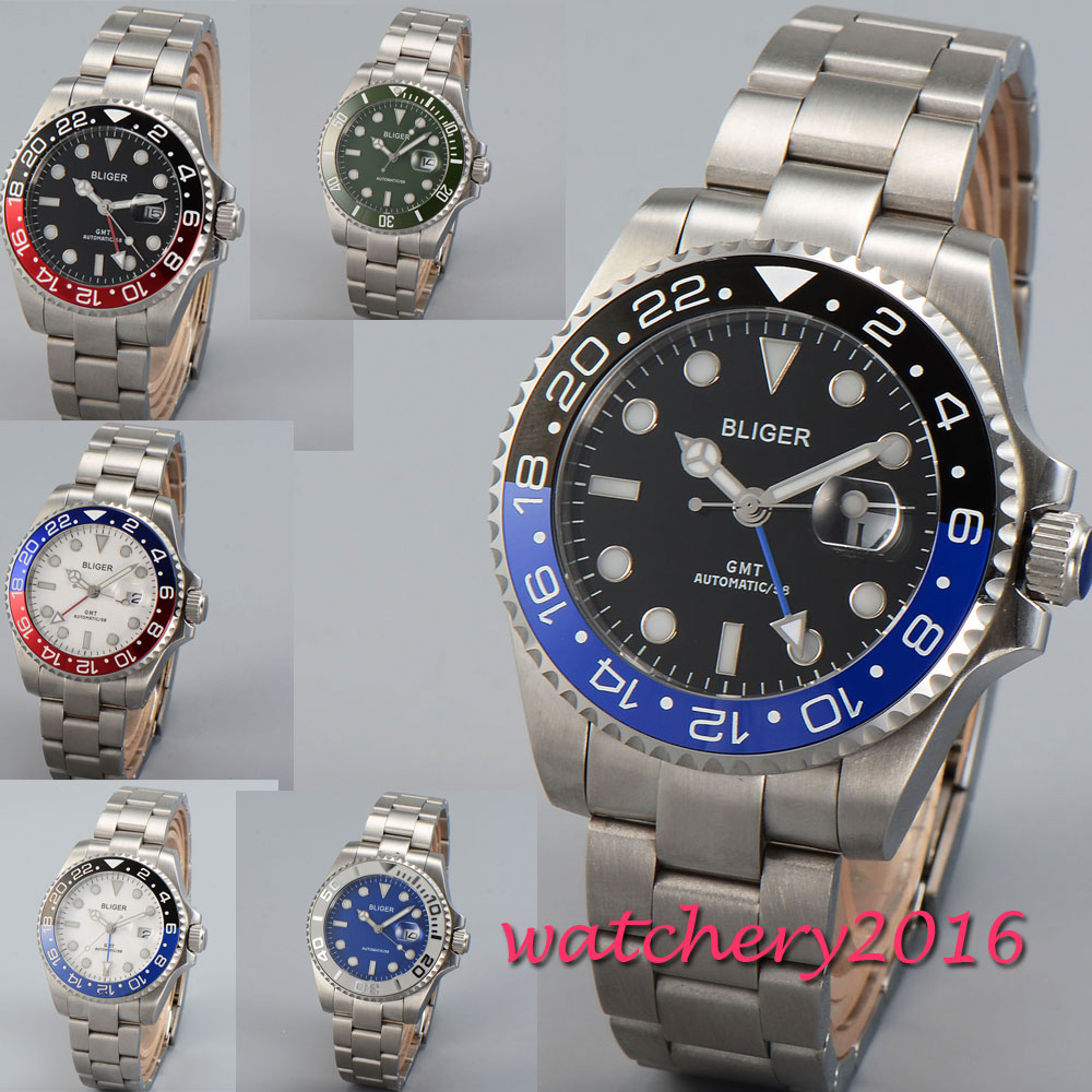 43mm Bliger White Blue Black Dial Sapphire Glass Luminous Romantic Valentines gifts GMT Automatic Movement men