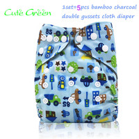 5pcs Reusable Baby Nappies Cloth Pant Double Gussets Bamboo Charcoal Inner Baby Cloth Diaper One Size