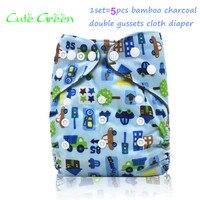 5 pcs calça duplo gussets reutilizáveis bebê fraldas de pano do bebê fralda de pano de carvão de bambu interior; OS fraldas de bolso fralda cobrir