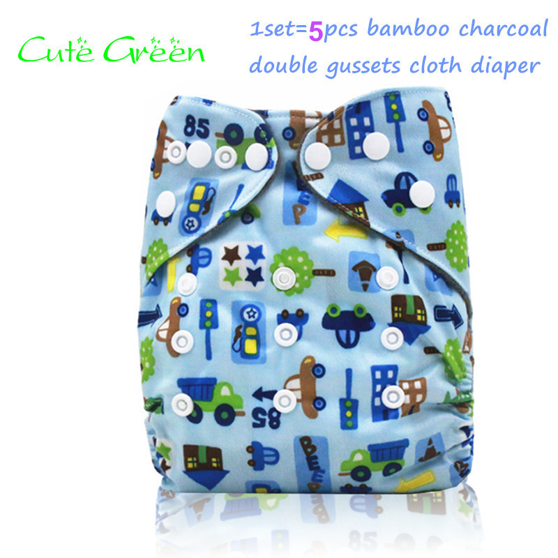 5pcs reusable baby nappies cloth pant double gussets bamboo charcoal inner baby cloth diaper;OS pocket diapers diaper cover