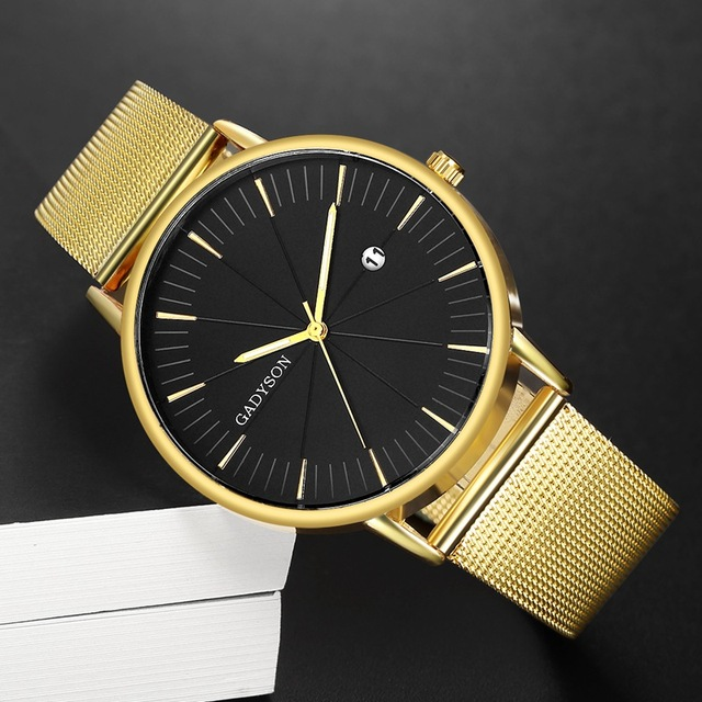 Luxury Black Mesh Steel Quartz Watch for Man  2
