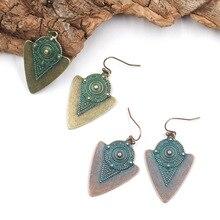 Women Bohemia Totem Carved Triangle Dangling Earrings Vintage Ethnic V-shaped Pendant Drop Ear Cuff Charm Earrings цена 2017