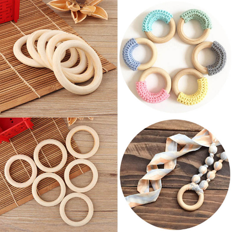 5pcs 70mm Natural Wooden Baby Teething Rings Infant Teether Toy Necklace Bracelet For 3-12 Month Infants Tooth Care Products