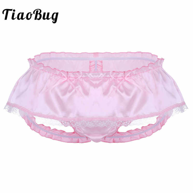 6ad04ee59ee8 TiaoBuig Mens Lingerie Soft Shiny Satin Ruffled 3 Bum Straps Skirted Panties  Sissy Lace Briefs Underwear