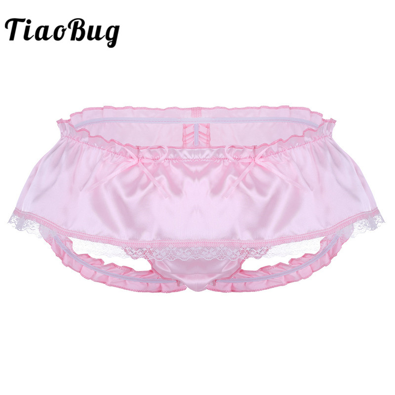 TiaoBuig Mens Lingerie Soft Shiny Satin Ruffled 3 Bum Straps Skirted Panties <font><b>Sissy</b></font> Lace Briefs <font><b>Underwear</b></font> <font><b>Sexy</b></font> Men <font><b>Gay</b></font> Underpants image