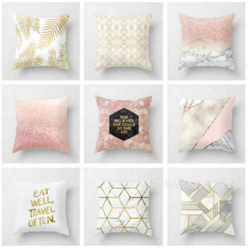 Gold Shining Printed Polyester Throw Pillow Case Chair Cushion Pillow Cover Home