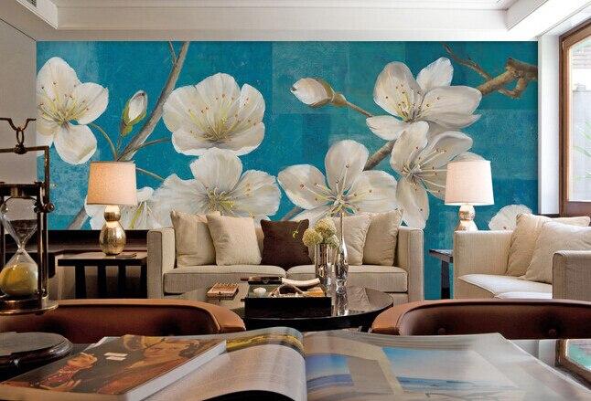 Retro Art Woonkamer : Custom retro behang bloeiende witte gardenia art