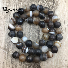 MY0058 Frosted Brown Striped Lace Agate Stone Round Beads 6mm/8mm/10mm/12mm Drilled Beads цена 2017