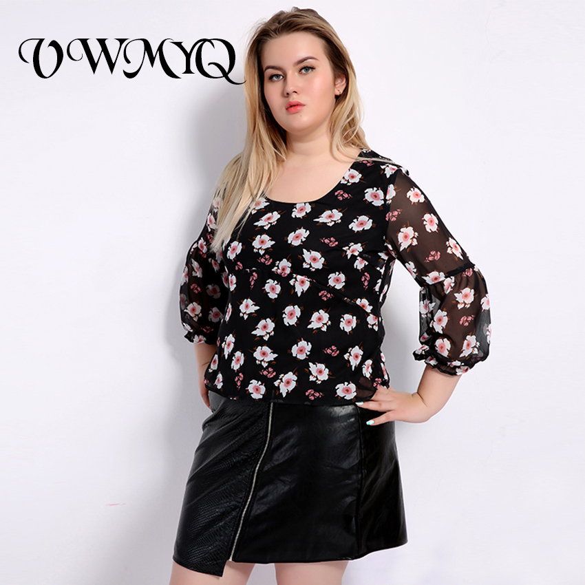 25437c15f64 VWMYQ 2017 Fashion Plus Size Shirts Women Large Size Casual Floral Print  Bow Tops Blouse Big Size Feminino Clothing 4XL 5XL 6XL-in Blouses   Shirts  from ...