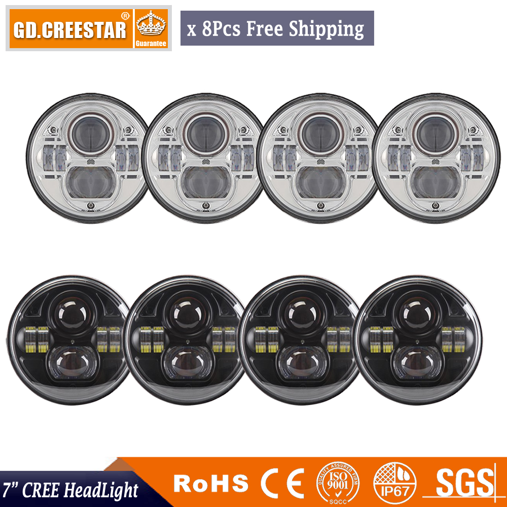 7 inch Round LED Projector Headlights Black 45W Led High low beam For Wrangler JK LJ TJ FJ Cruiser Liberty x8pcs/lots Free ship 7 inch 80w round led headlights high