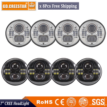 8pcs of 45W 7 Round LED Projector Headlights with h4 to h13 Plug For font b