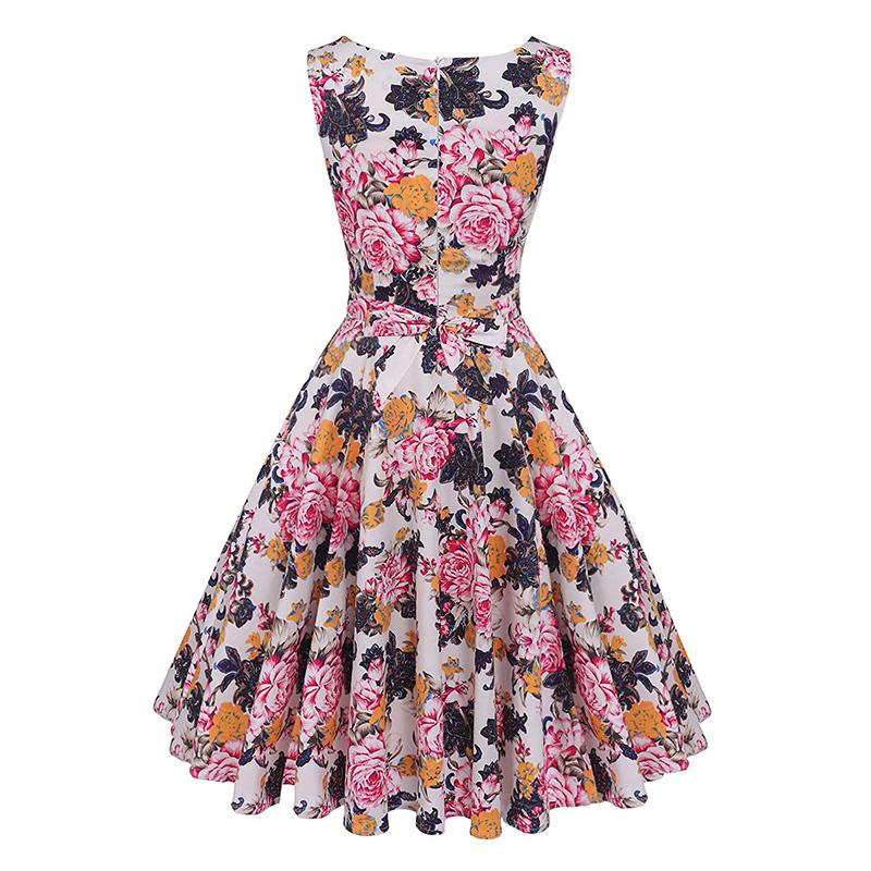 Kostlish Cotton Summer Dress Women 2017 Sleeveless Tunic 50s Vintage Dress Belt Elegant Print Rockabilly Party Dresses Sundress (59)